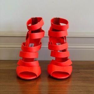 Jimmy Choo Neon Orange Caged Leather 'Dame' Sandal